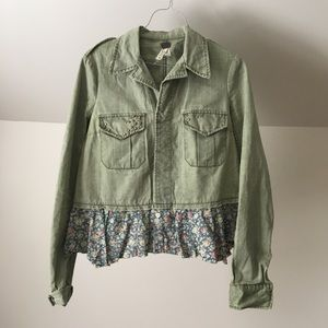 FREE PEOPLE Military Green Floral Ruffle Jacket
